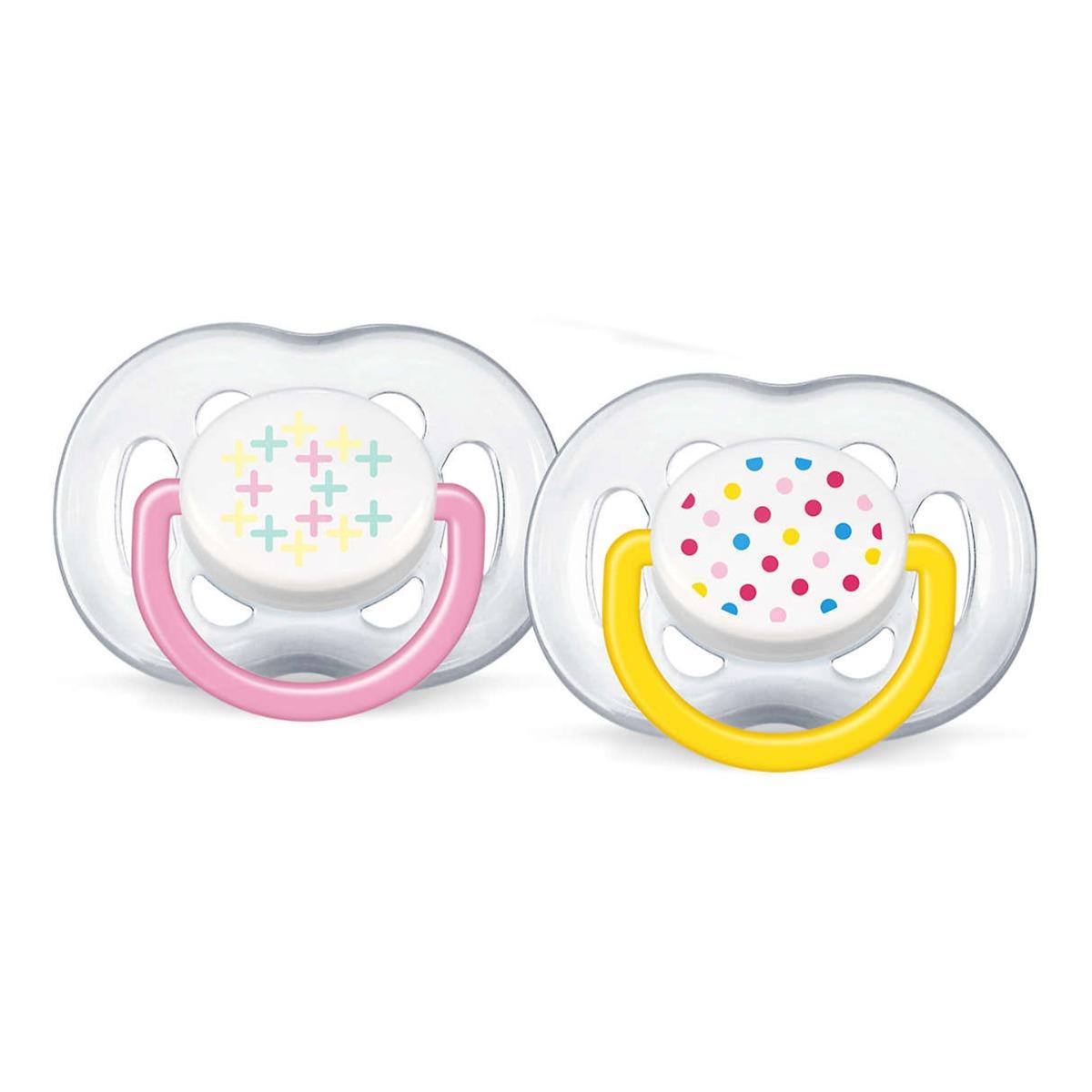 Set 2 suzete cu flux liber Philips Avent, tetina silicon, 6-18 luni, Galben/Roz imagine