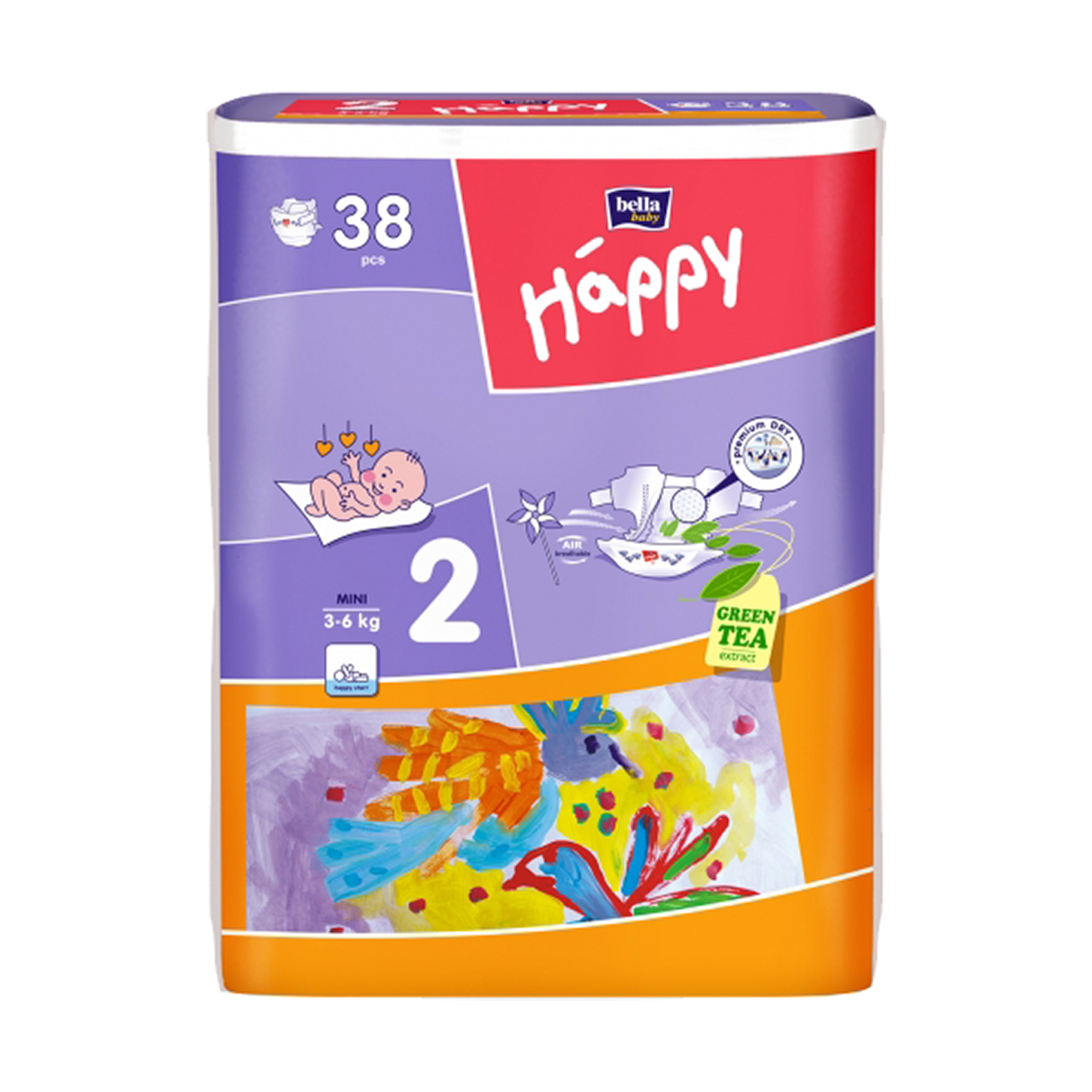 scutece happy mini 2, 38 buc, 3 - 6 kg