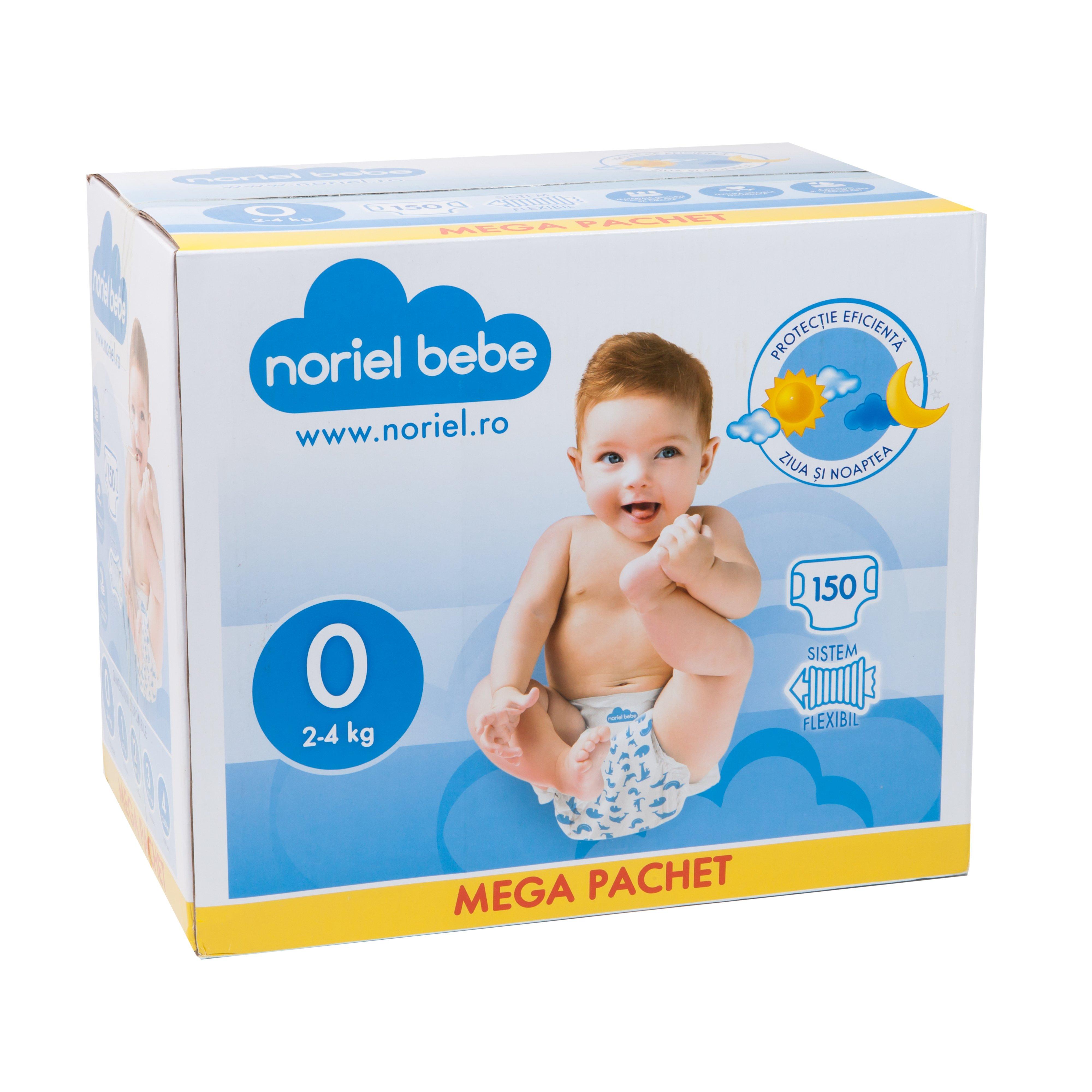 scutece noriel bebe mega pachet, marimea 0, 150 buc, 2 - 4 kg