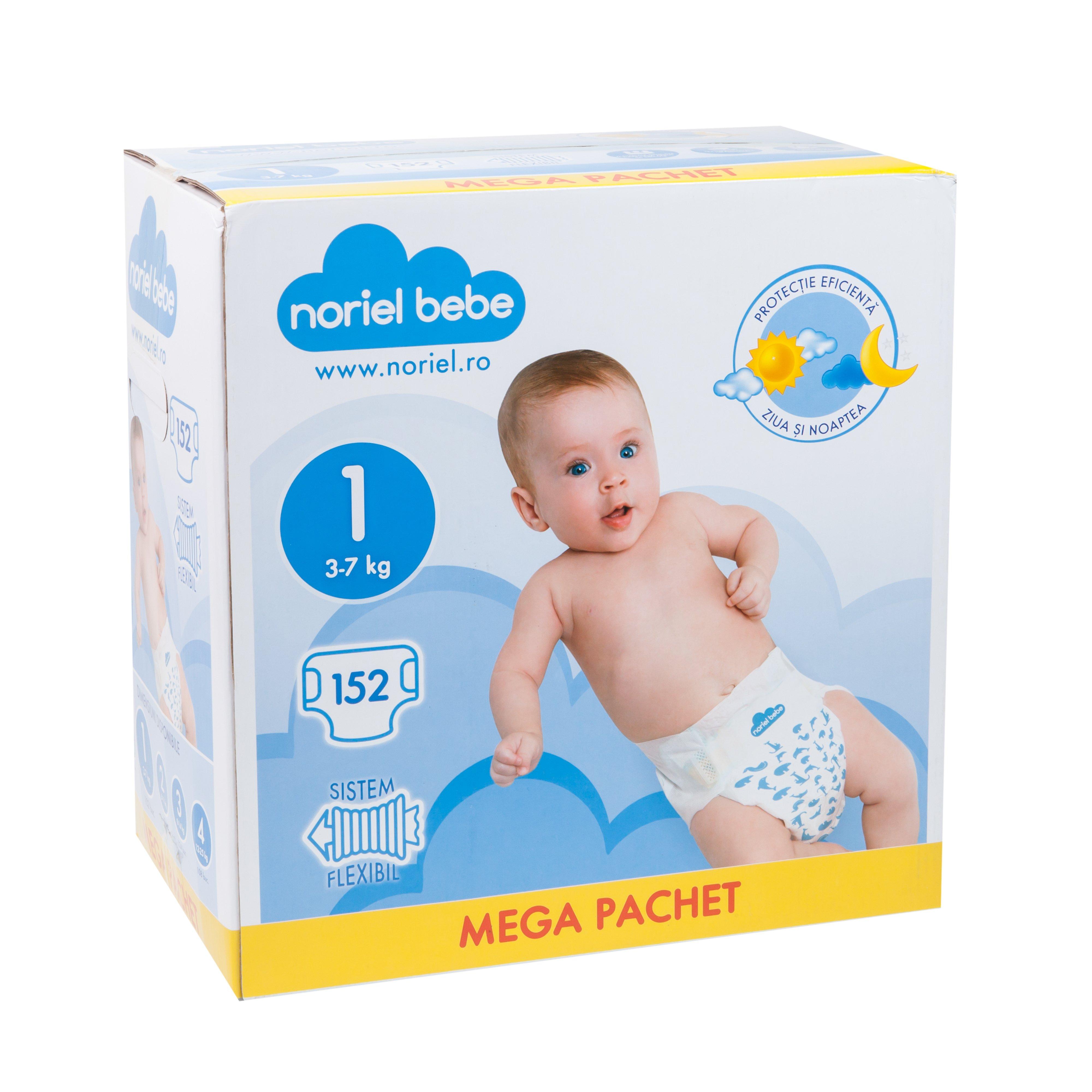 scutece noriel bebe mega pachet, marimea 1, 152 buc, 3 - 7 kg