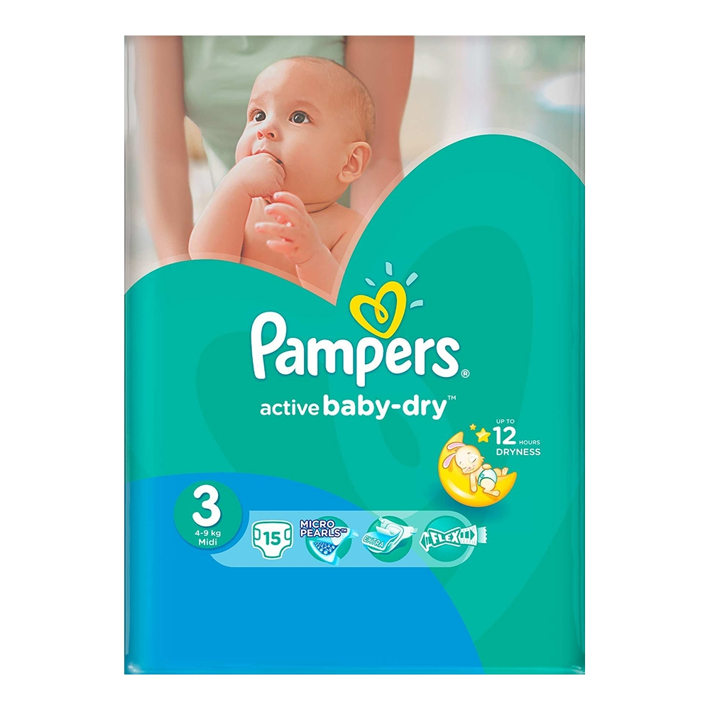 scutece pampers active baby-dry 3 midi, 15 buc, 5 - 9 kg