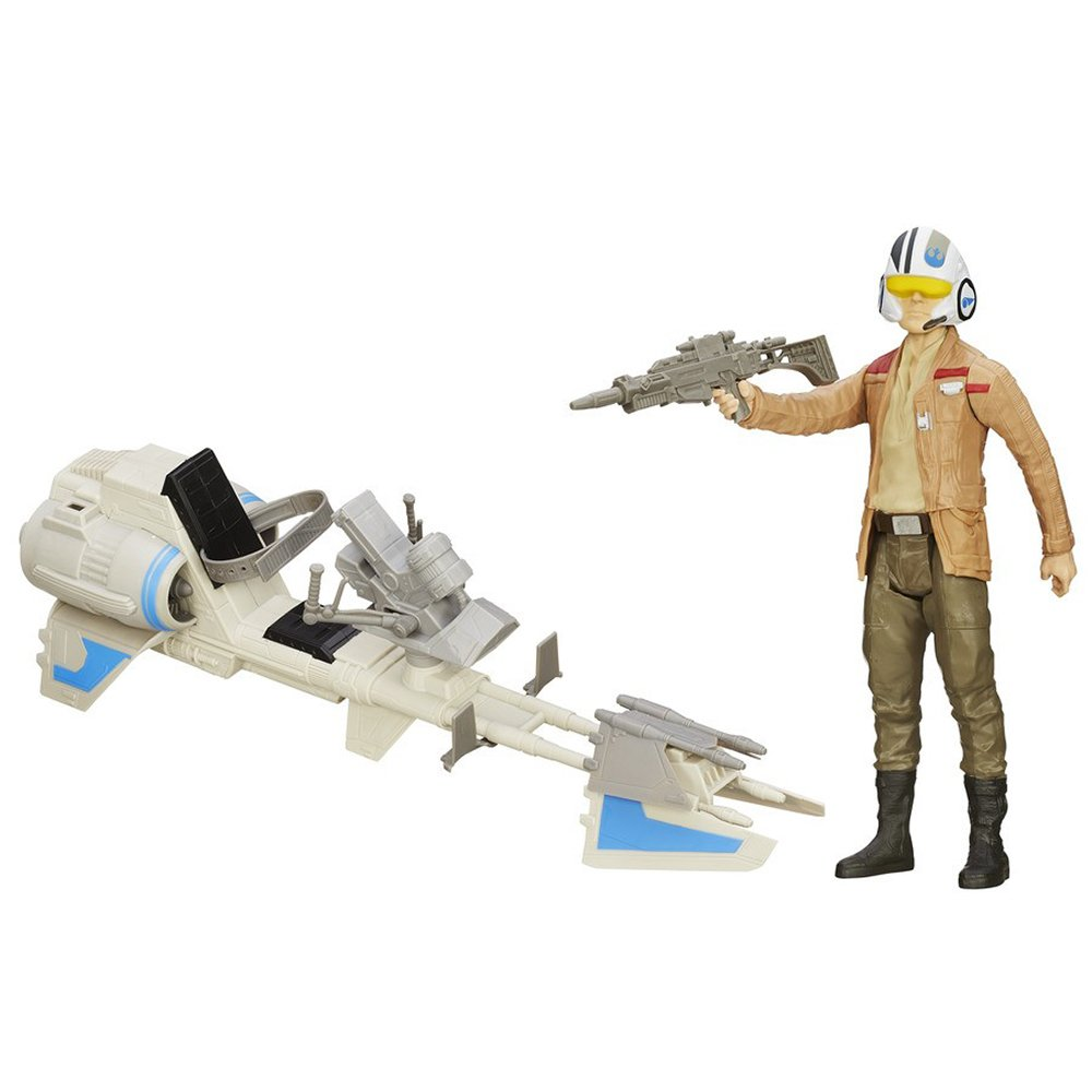 set 2 figurine star wars the force awakens - poe dameron si bicicleta speeder, 30.5 cm