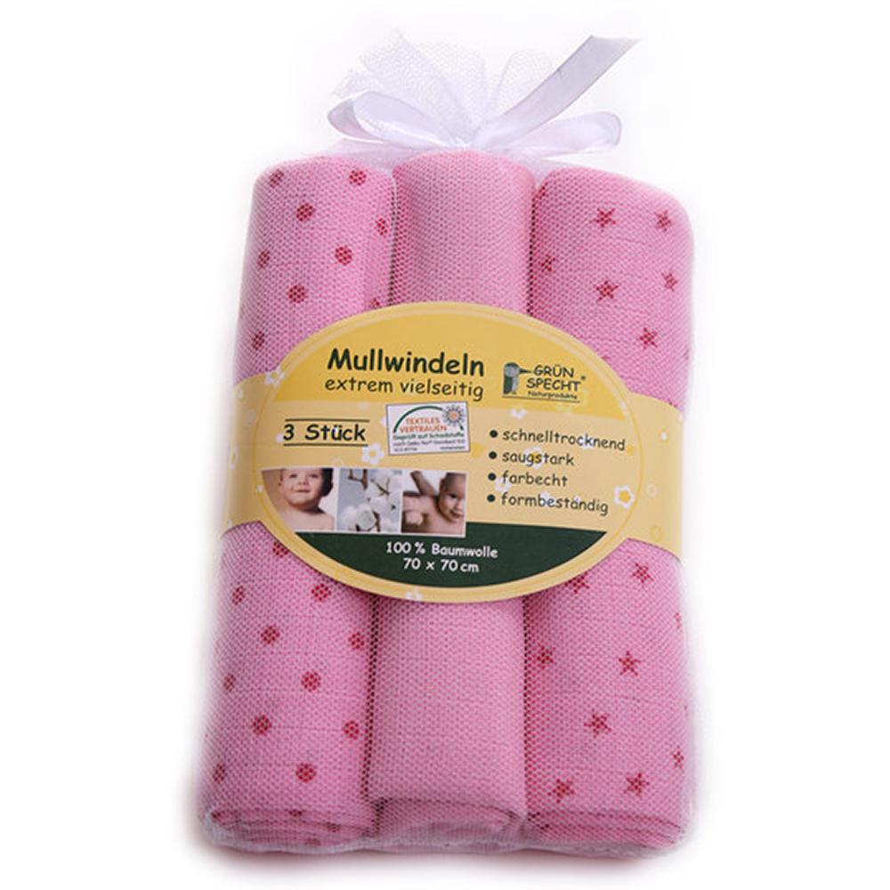 Set 3 Servete din bumbac Gruenspecht Mullwindeln, roz