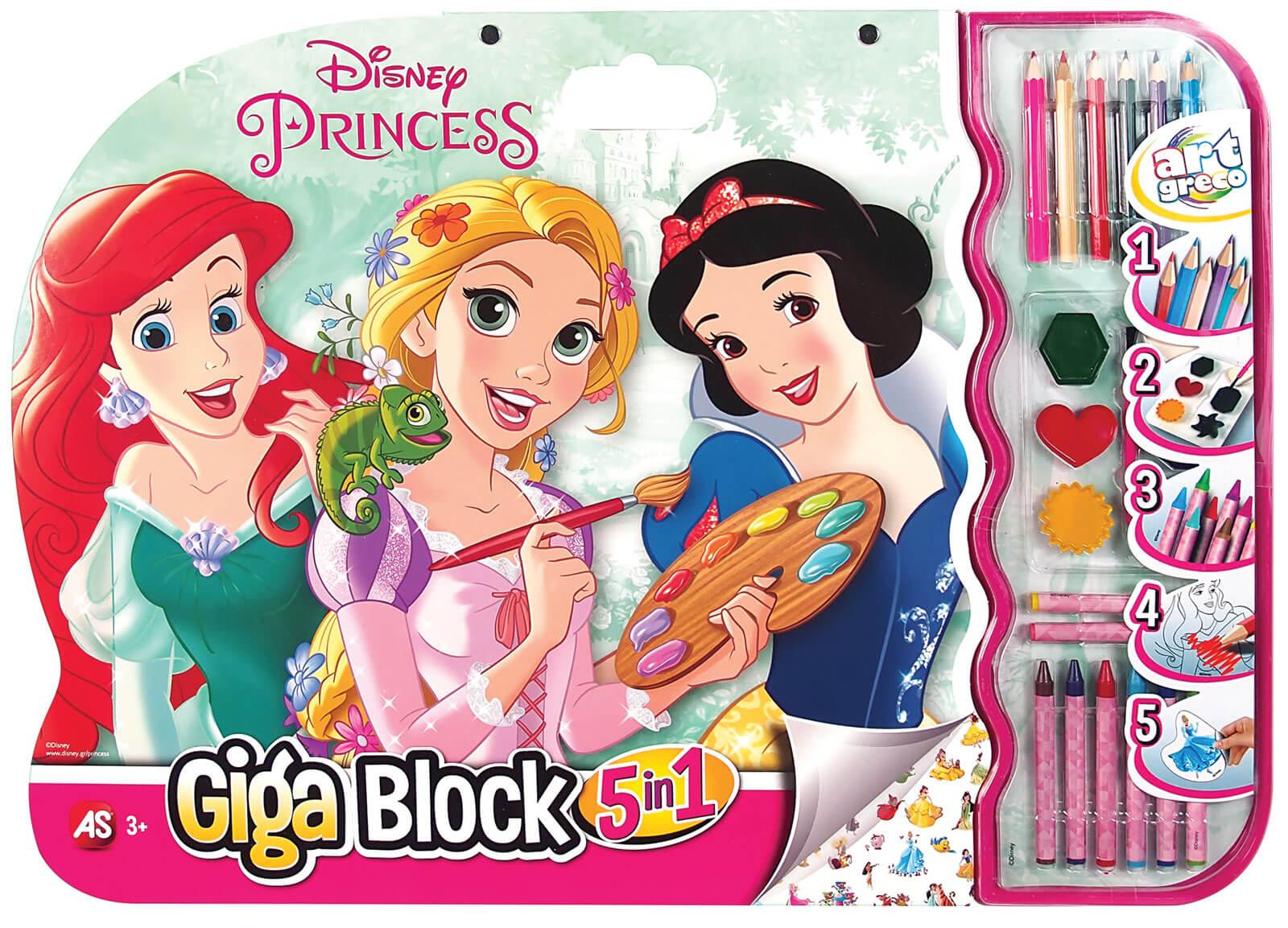 set desen cu accesorii 5 in 1 disney princess