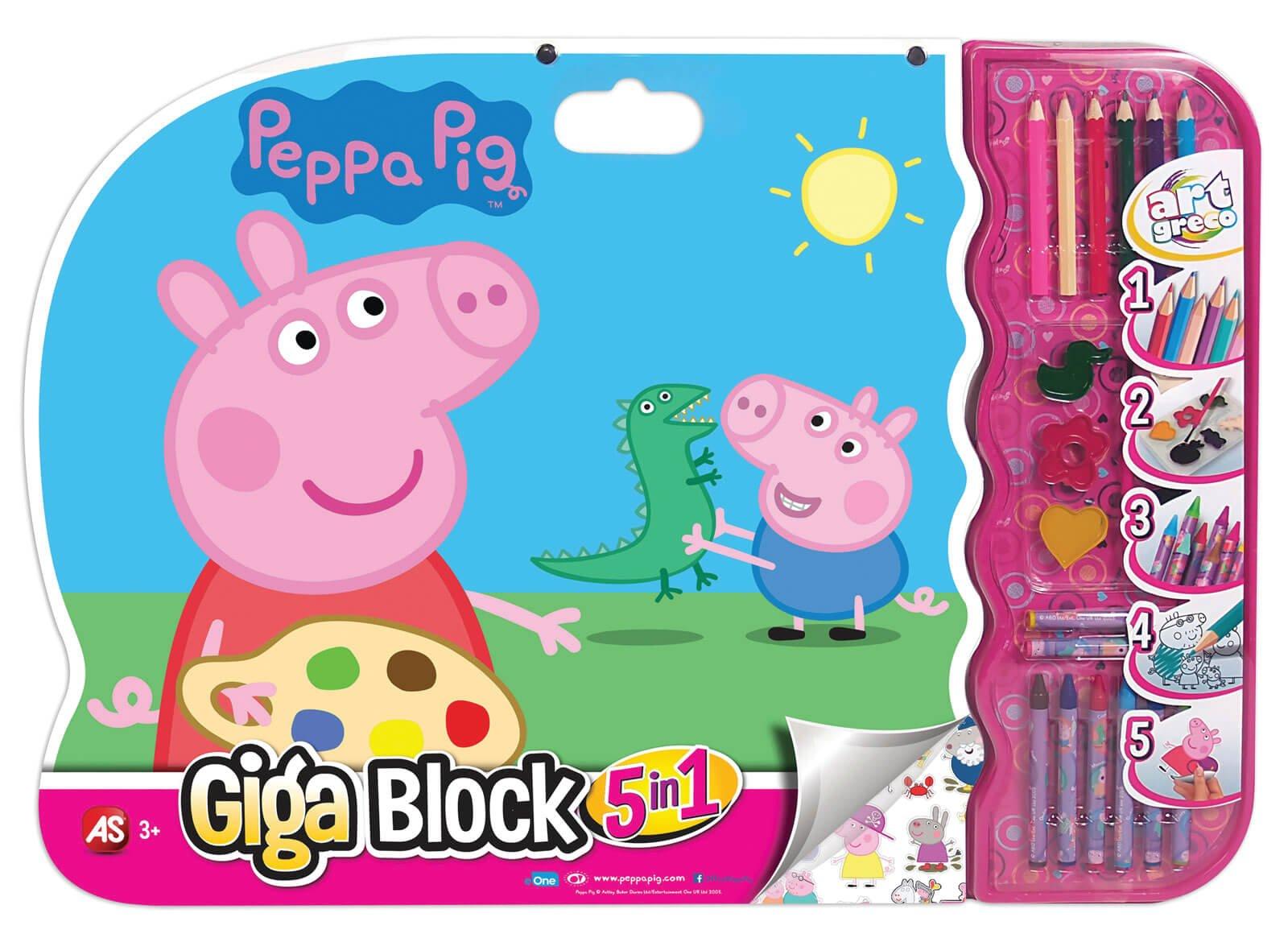 set desen cu accesorii 5 in 1 peppa pig
