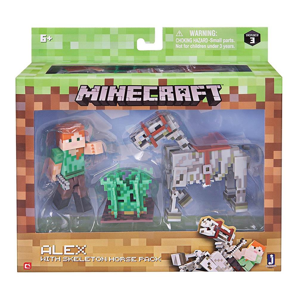 Set Figurina Minecraft - Alex & Skeleton Horse