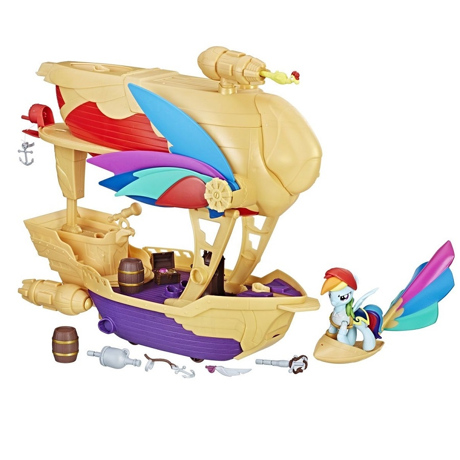 set figurina my little pony the movie - aeronava de pirati si luptatorul plutitor
