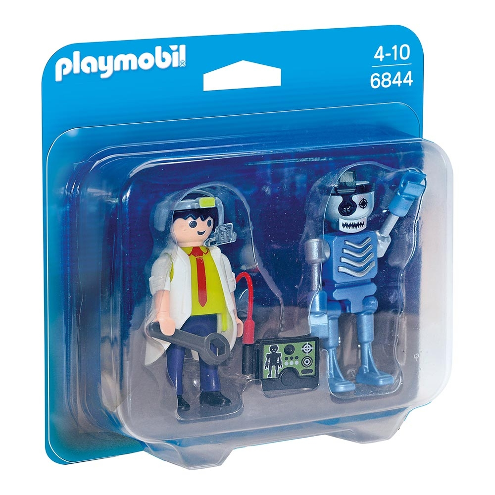 set figurine playmobil city action - om de stiinta si robot (6844)