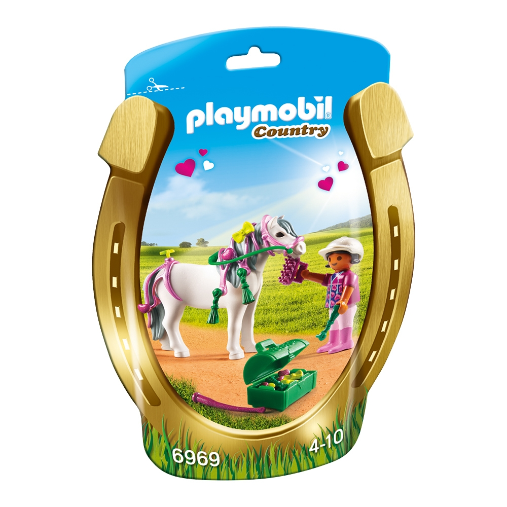 set figurine playmobil country - ingrijitor si ponei cu inimioare (6969)