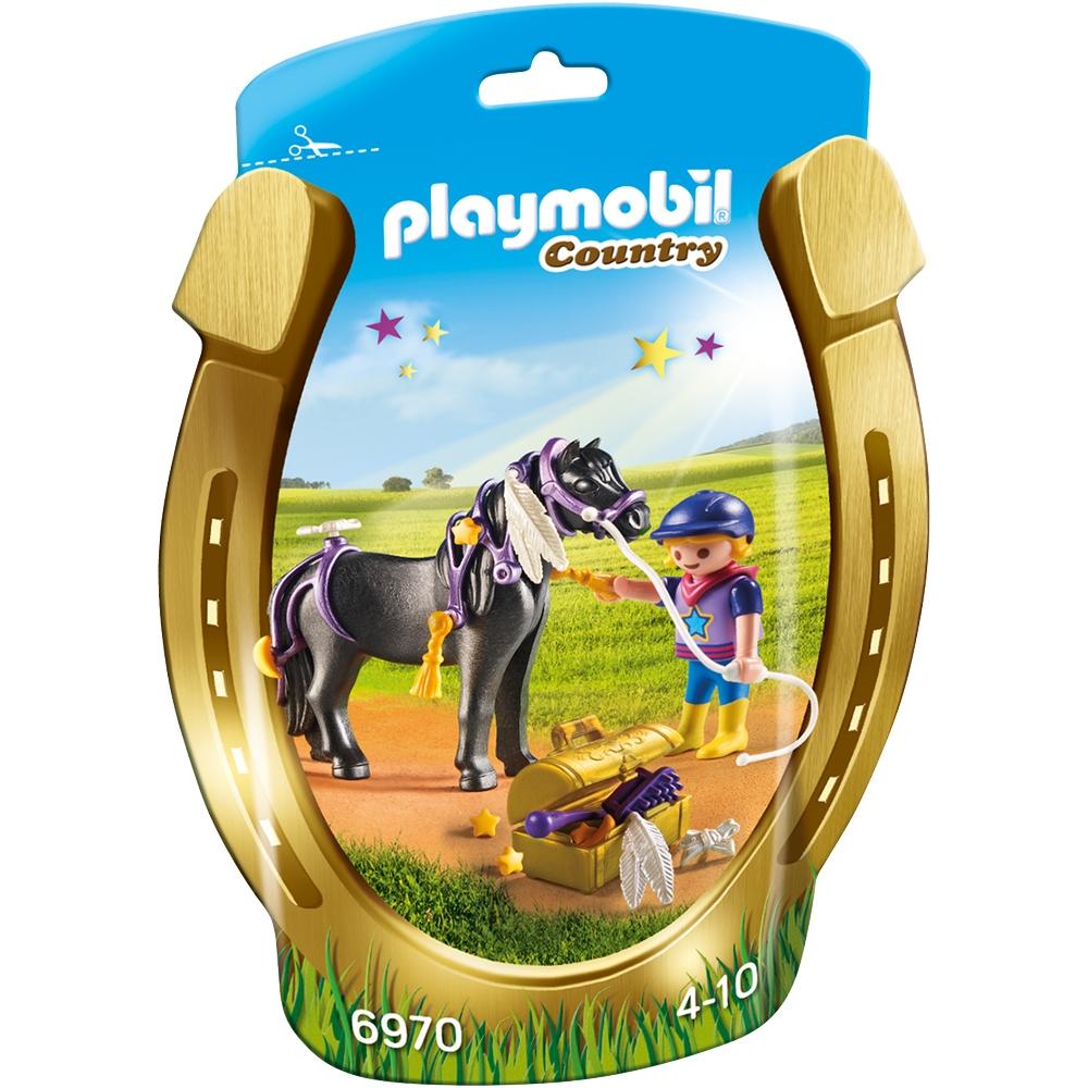 set figurine playmobil country - ingrijitor si ponei cu stelute (6970)