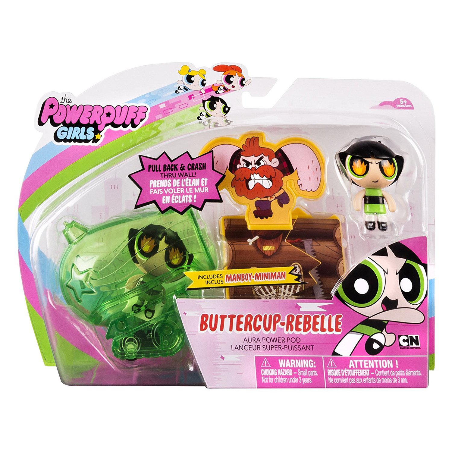 set figurine powerpuff girls aura power pods, buttercup