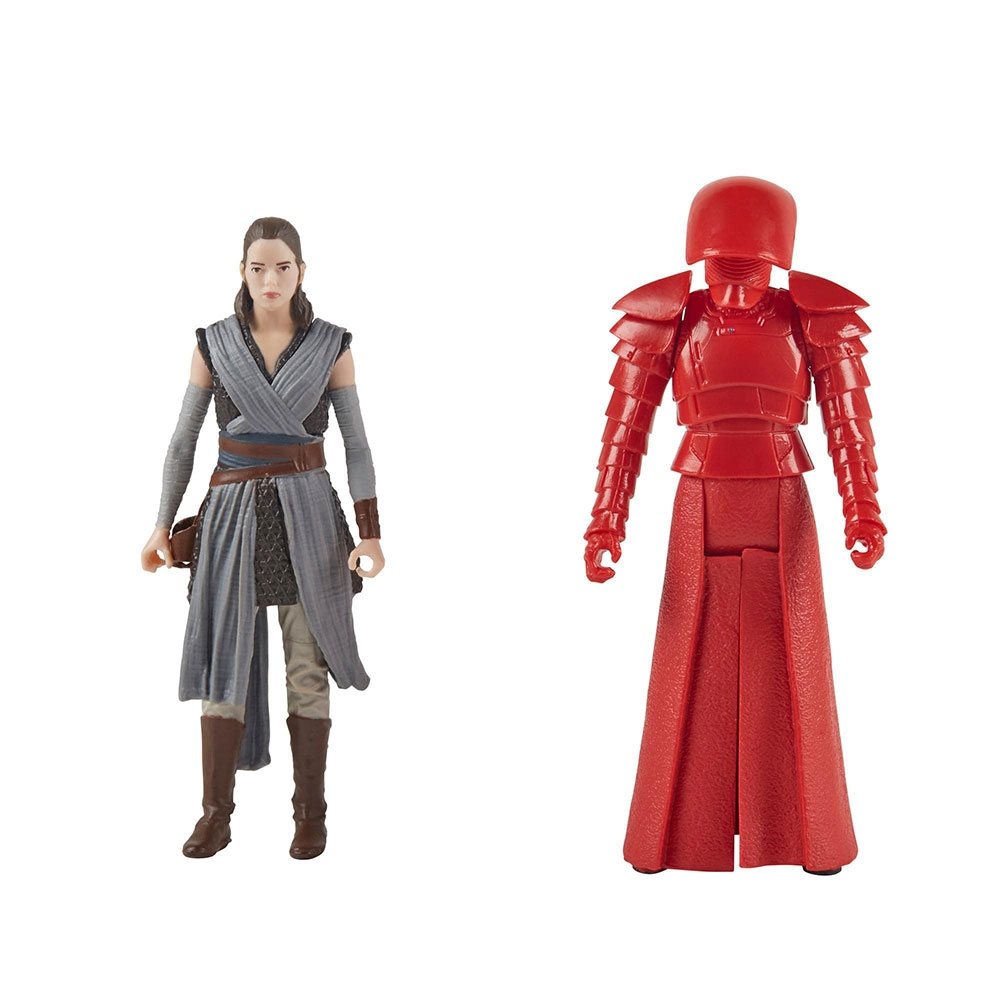 set figurine star wars force link - rey (jedi training) & elite praetorian guard