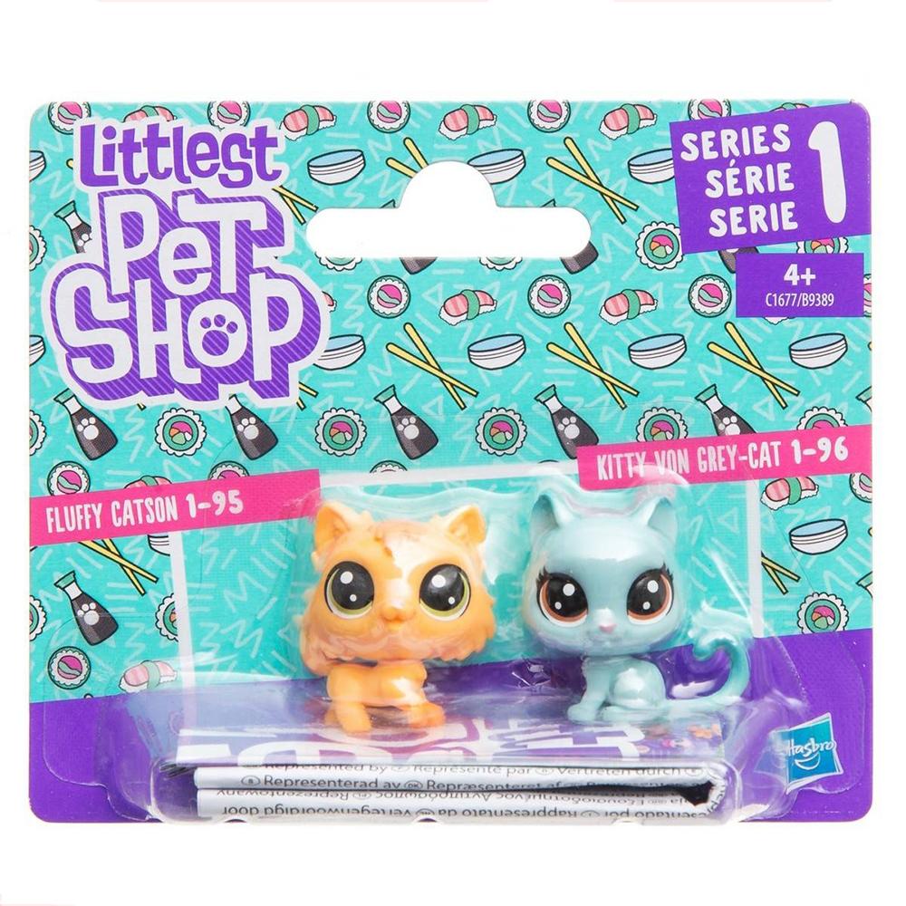 set minifigurine littlest pet shop seria 1 - kitty von grey cat & fluffy catson