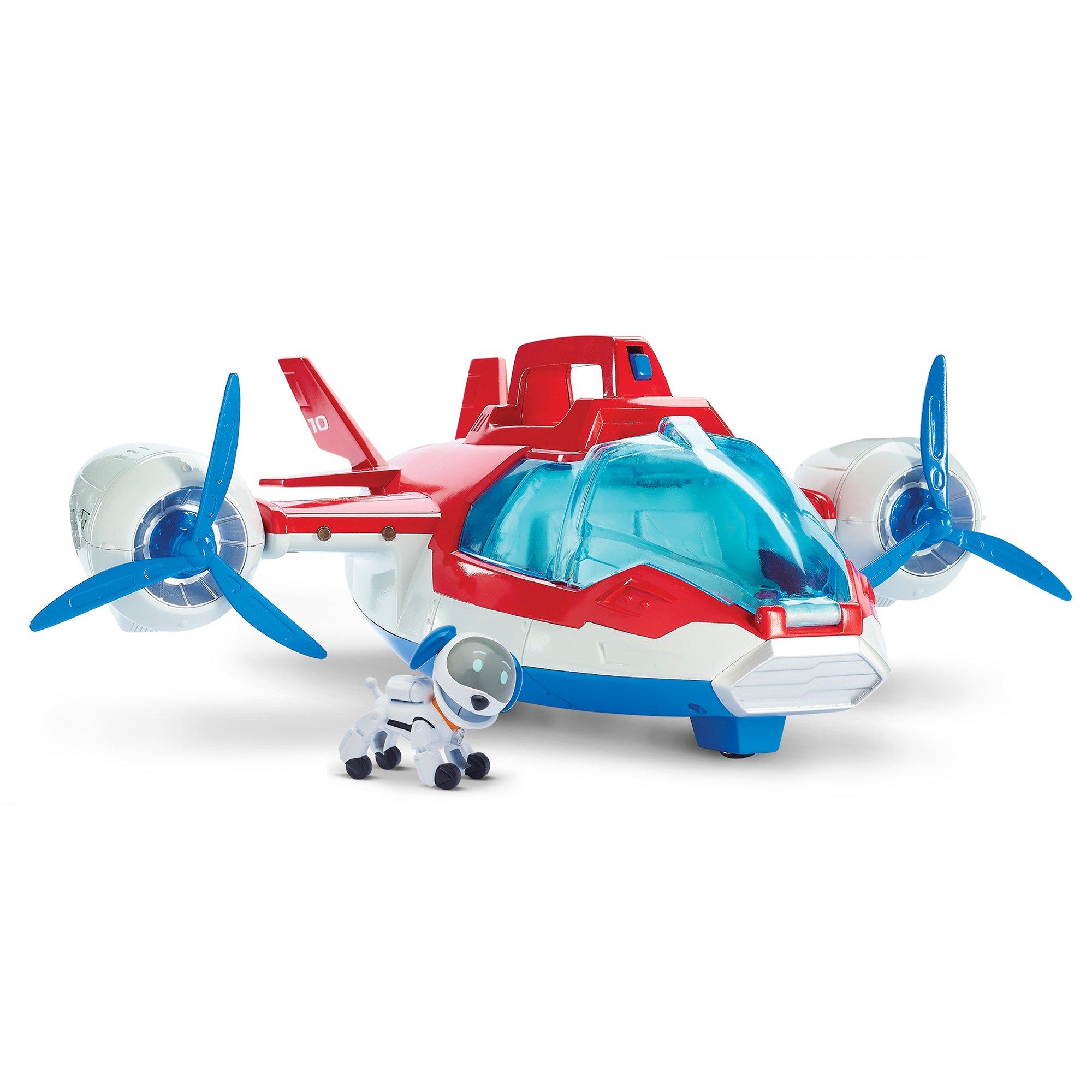 set paw patrol - figurina si aeronava cu lumini si sunete