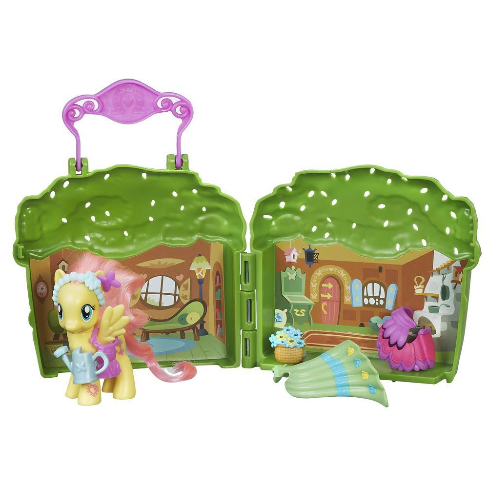 set tematic cu figurina my little pony friendship is magic - cabana lui fluttershy