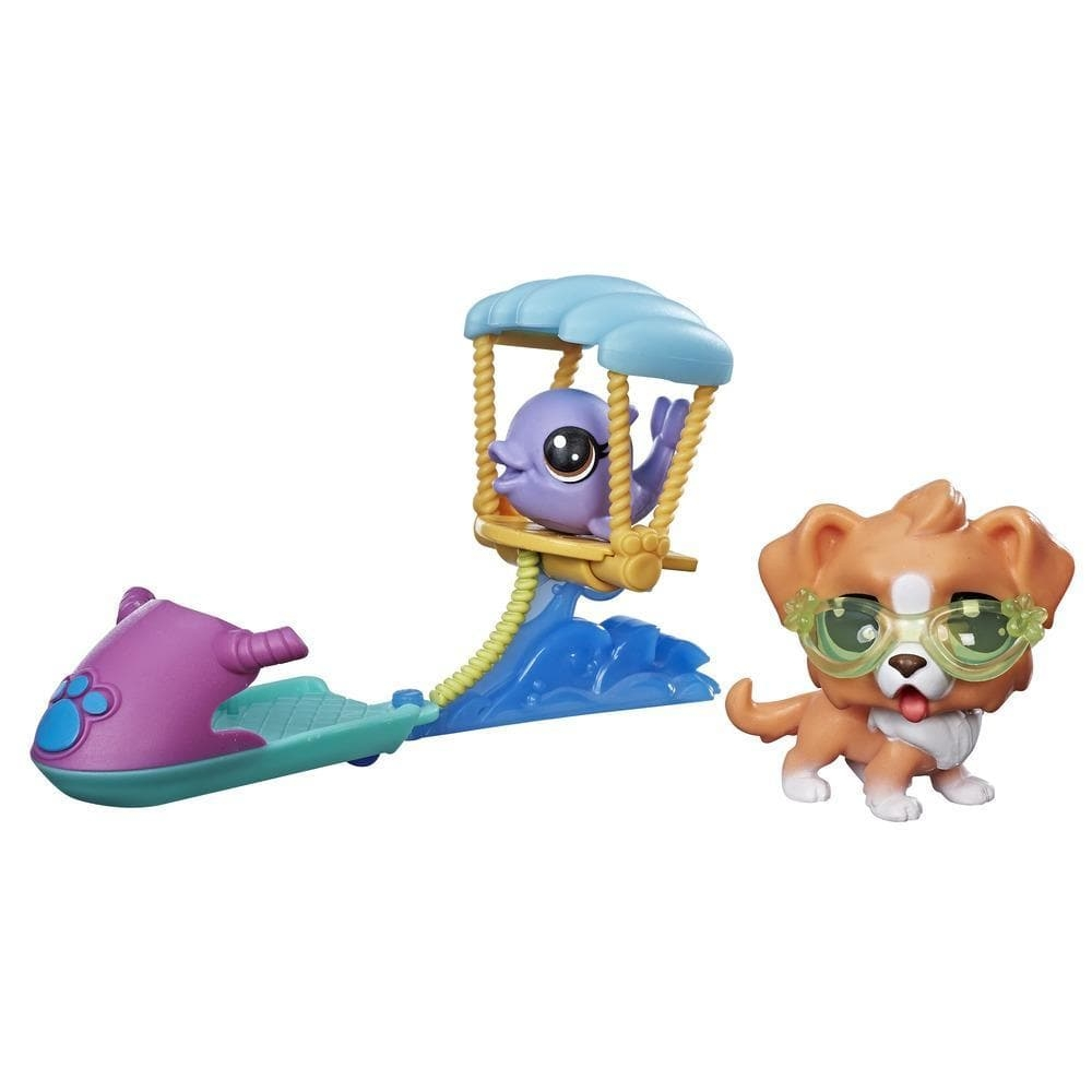 set tematic cu figurine littlest pet shop - parasailing cu animale