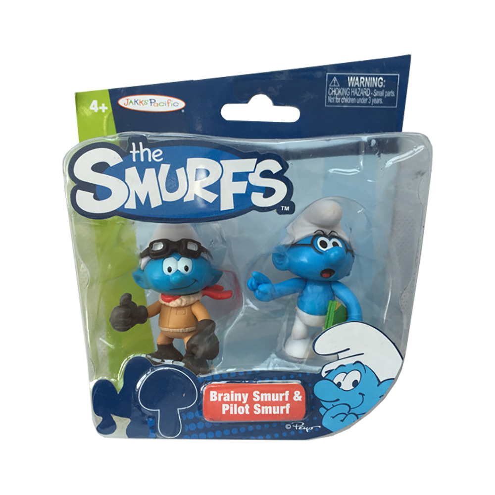 set tematic cu figurine smurfs - brainy strumf si pilot strumf