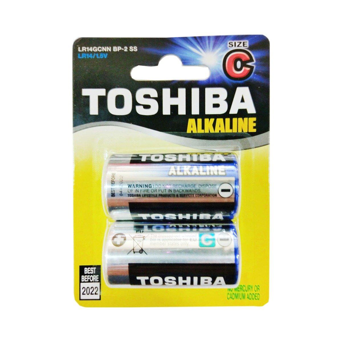 Set 2 baterii alkaline Toshiba R14 imagine 2021