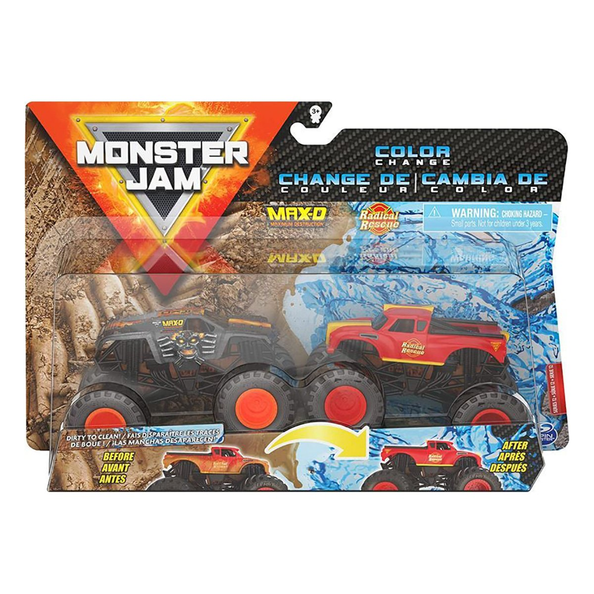 Set 2 masinute Monster Jam, Color Change, Max-D si Radical Rescue, 20128655, 1:64