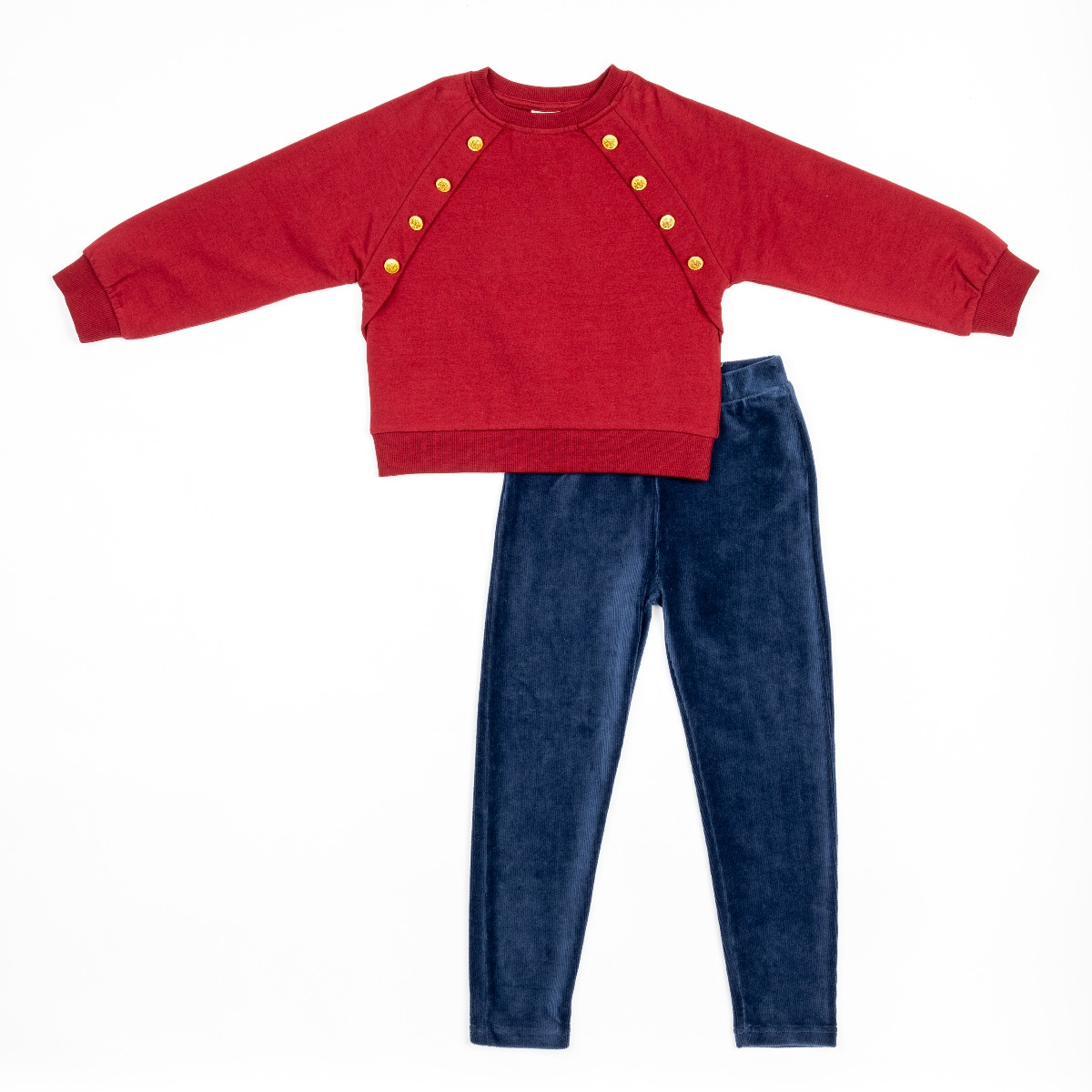 Set bluza rosie cu maneca lunga si pantaloni cu