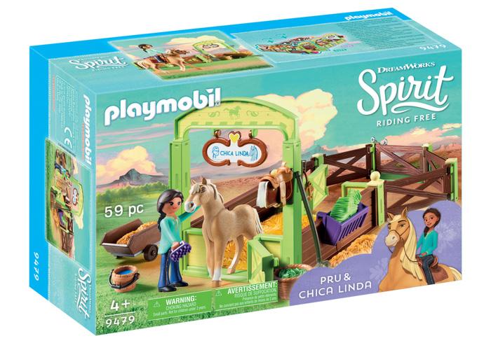 Set de constructie Playmobil Spirit - Spatiu ingrijire cai Pru si Chica Linda (9479)