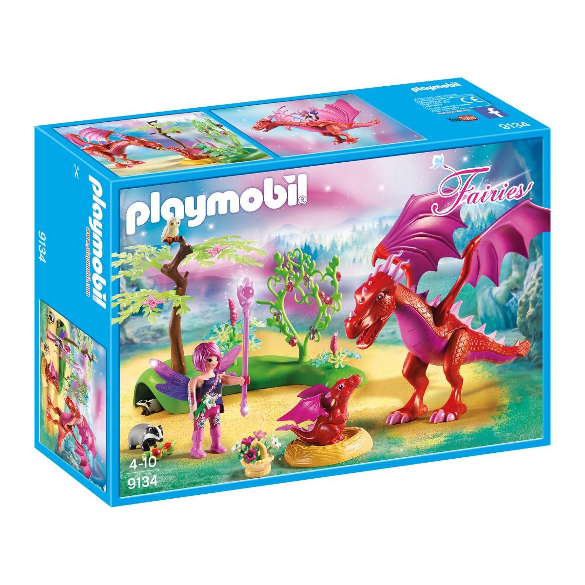 set figurine playmobil fairies - dragonul prietenos cu puiul sau (9134)
