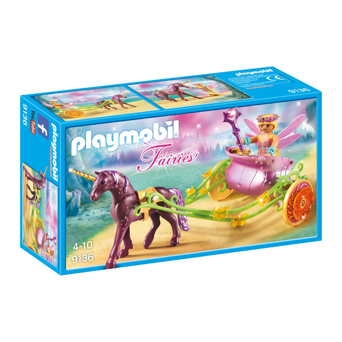 set figurine playmobil fairies - trasura cu unicorn si zane (9136)