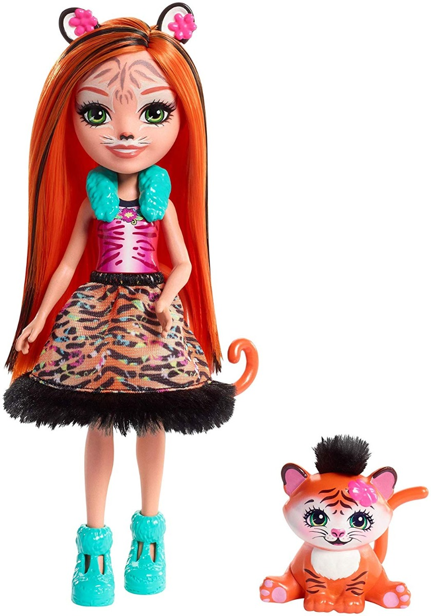 Set papusa cu animalut Tanzie Tiger Doll and Tuft Figure Enchantimals