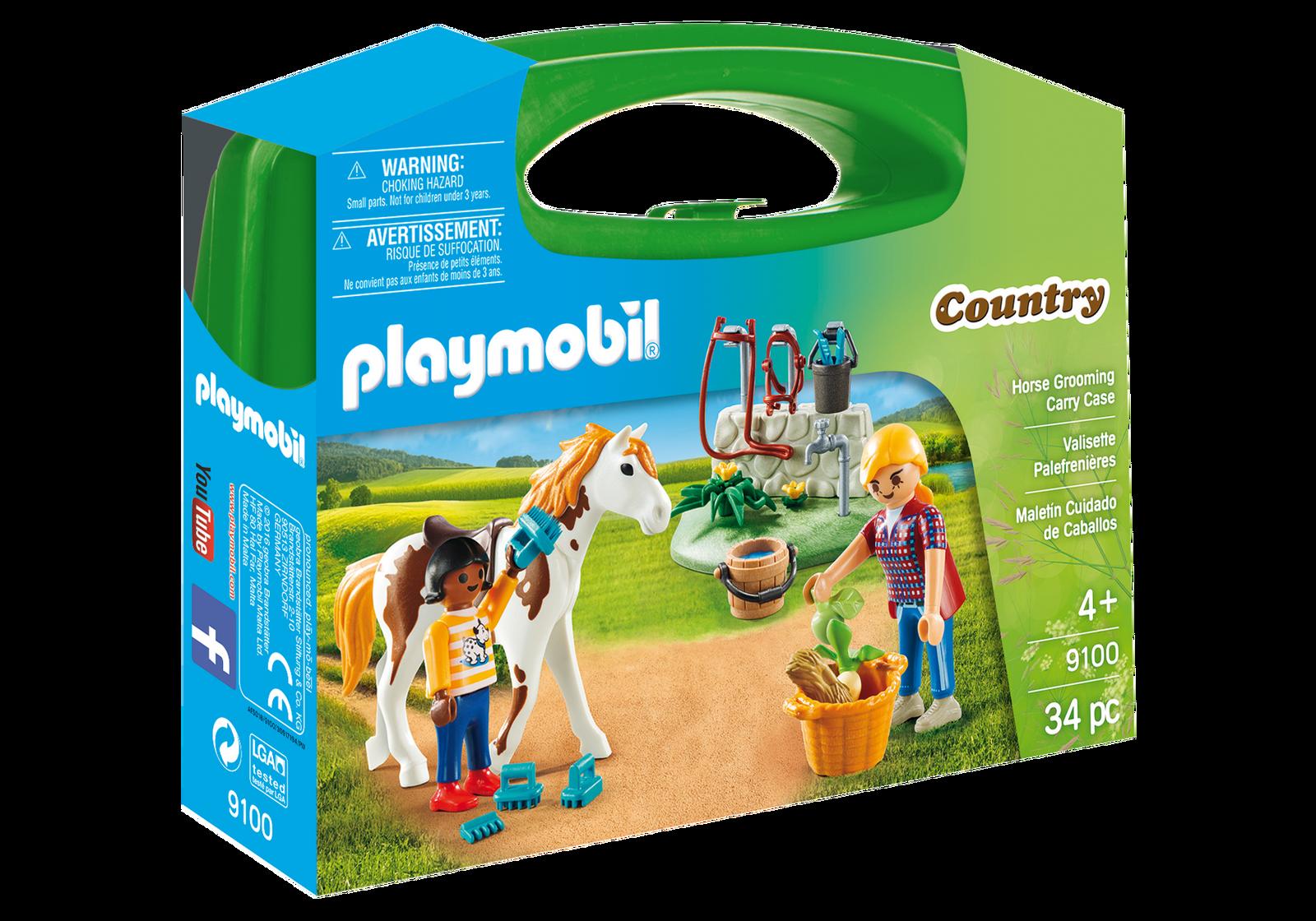 set portabil figurine playmobil country - copii cu cal (9100)