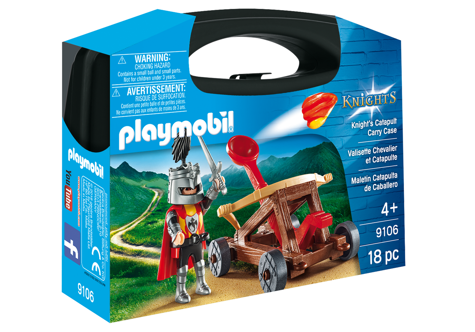 Set portabil Playmobil Knights - Caveler cu catapulta (9106)