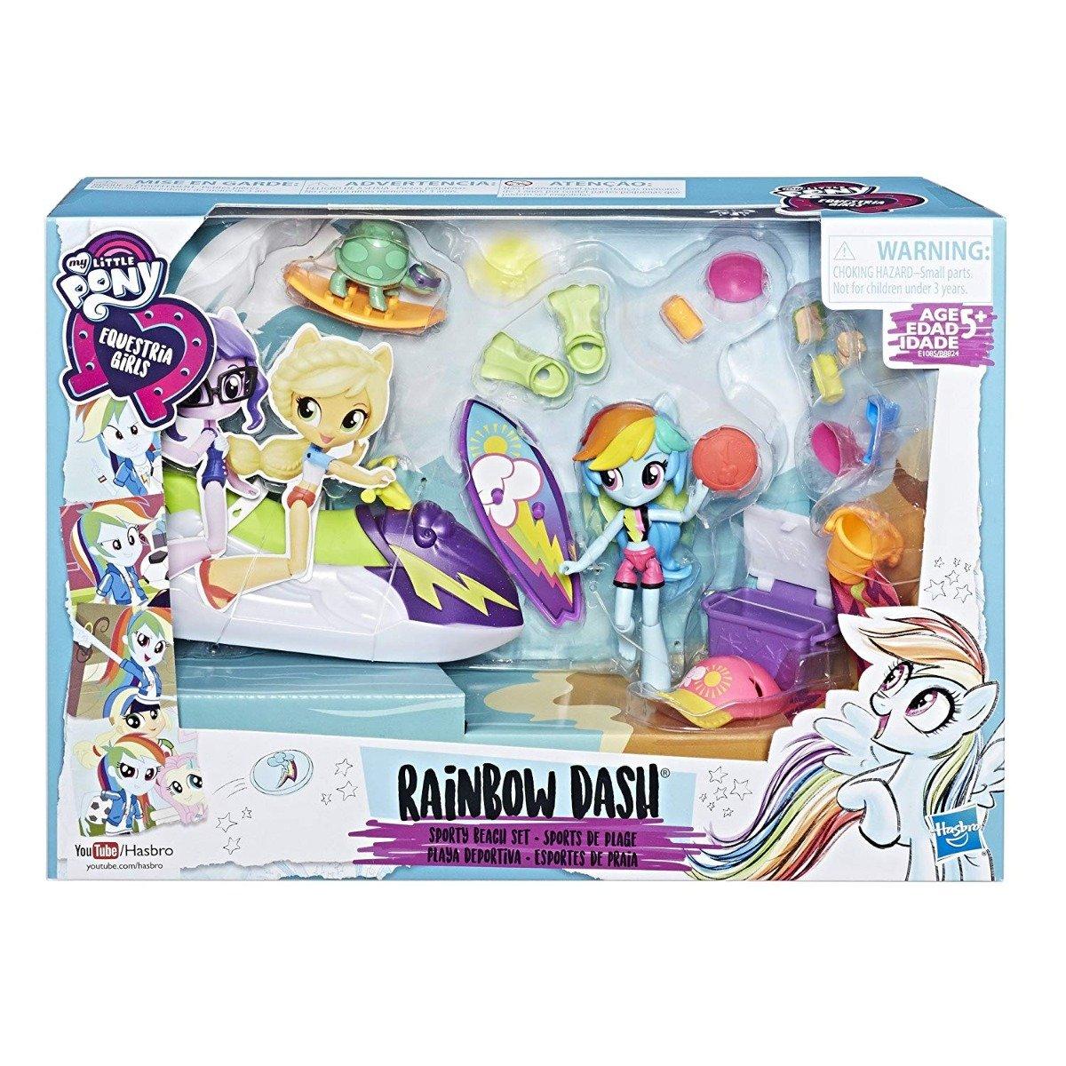 set tematic cu figurina my little rainbow dash - set plaja sport