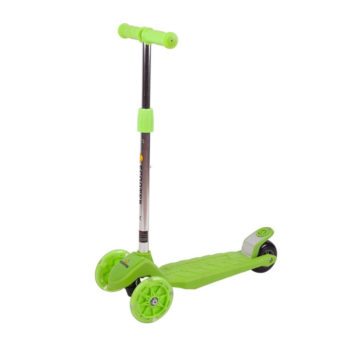 Trotineta reglabila cu roti luminoase Action One Stability 4, Verde