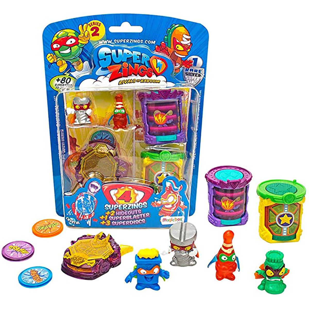 Set 4 figurine surpriza si accesorii SuperZings, Seria 2
