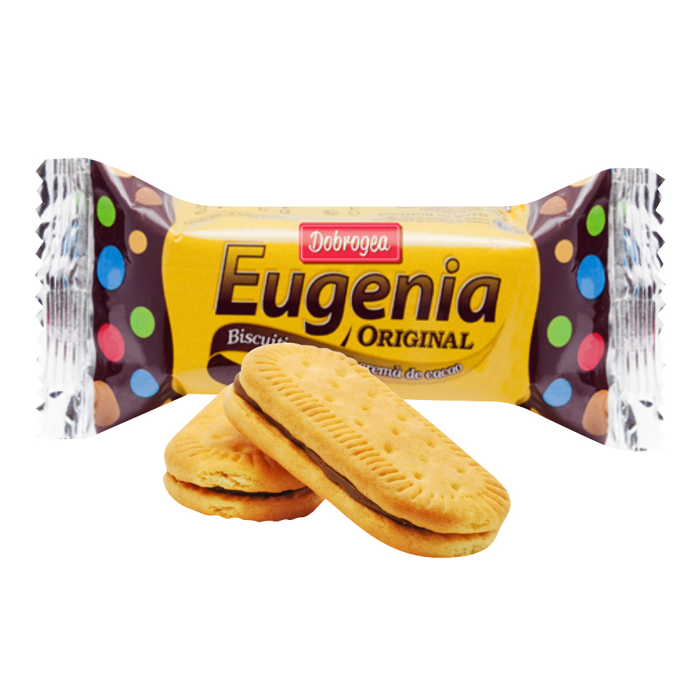 Biscuiti cu crema de ciocolata Dobrogea Eugenia, 22 buc x 38 g imagine