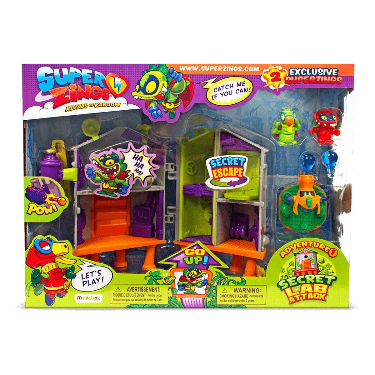 Set de joaca cu 2 figurine SuperZings, Laboratorul secret