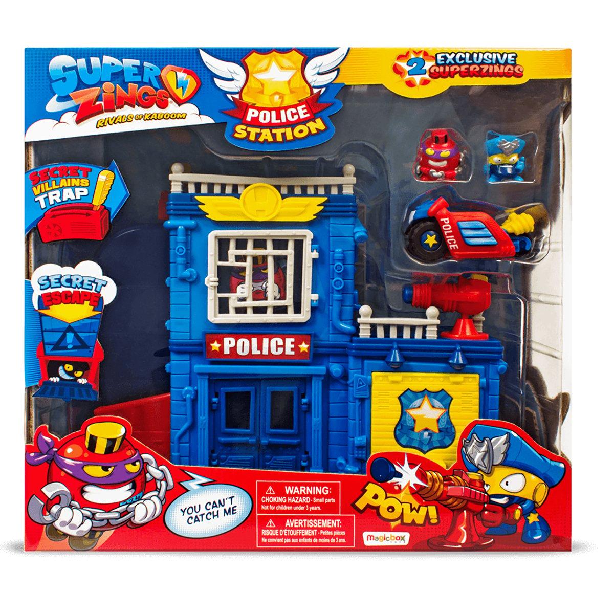 Set de joaca cu 2 figurine SuperZings, Sectia de politie imagine 2021
