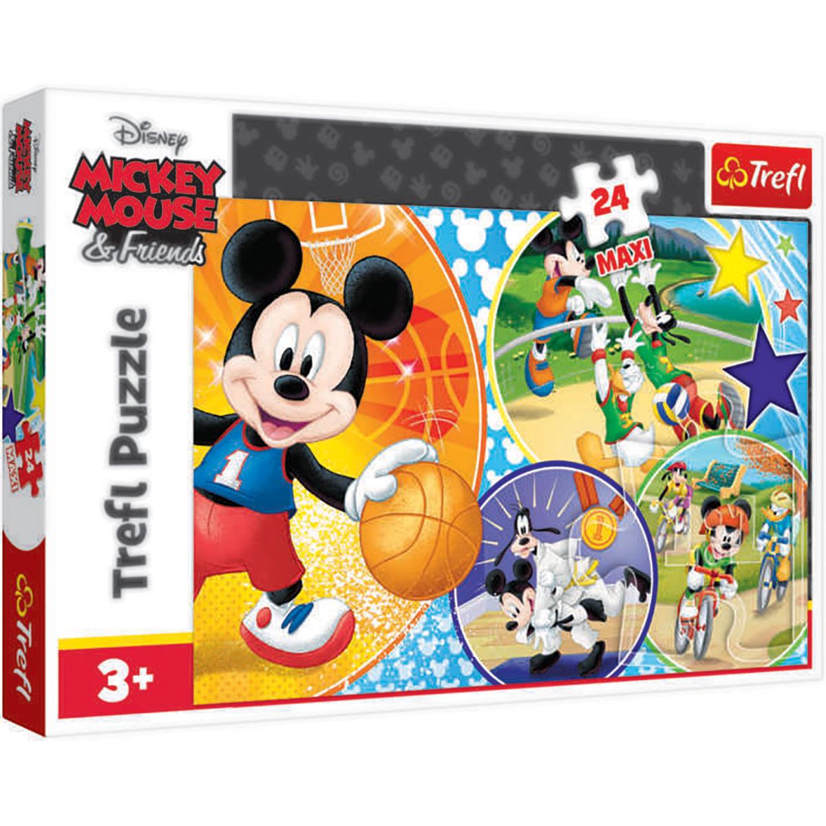 Puzzle Maxi Trefl, Mickey Mouse, E timpul pentru sport, 24 piese