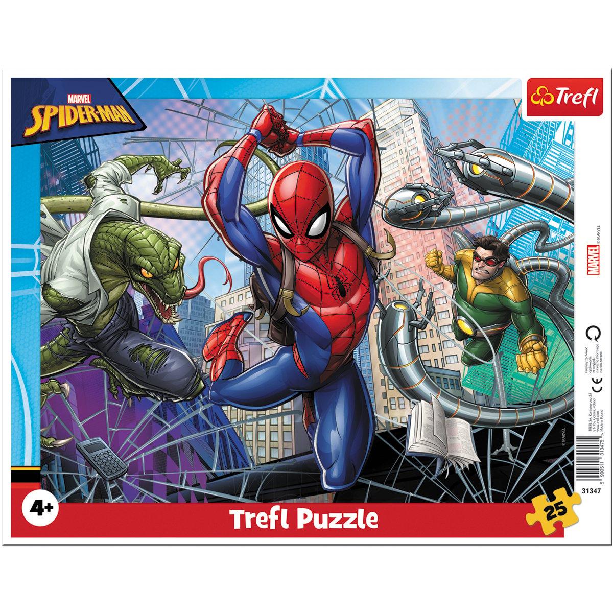Puzzle Trefl 25 piese in rama, Curajosul Spiderman