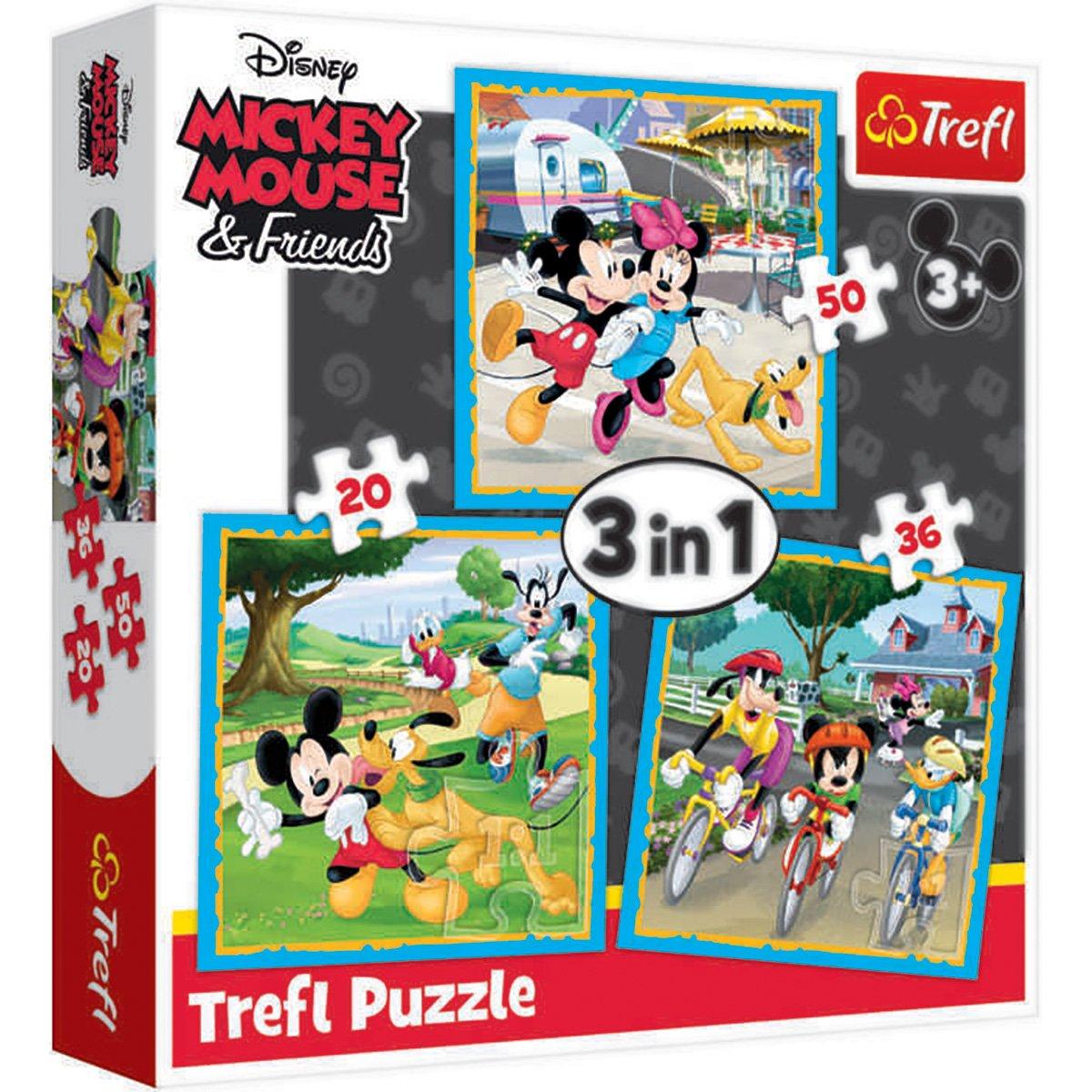 Puzzle 3 in 1 Trefl, Mickey Mouse si prietenii (20, 36, 50 piese)