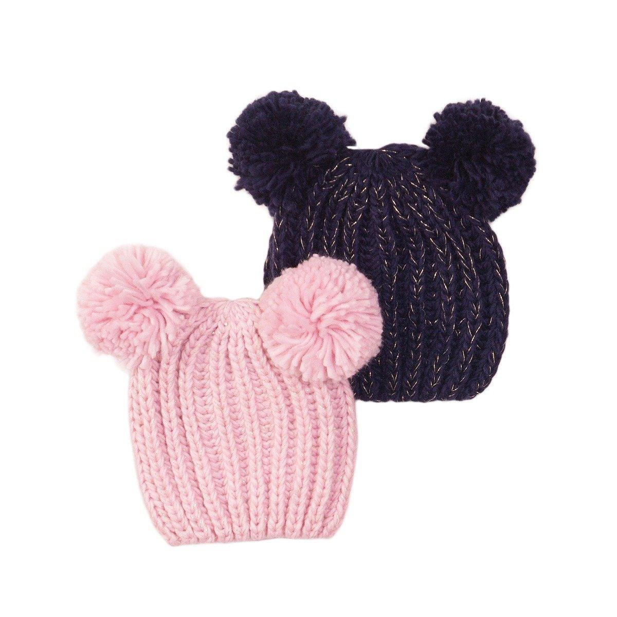 Set caciuli tricotate roz/bleumarin Minoti Tg Hat