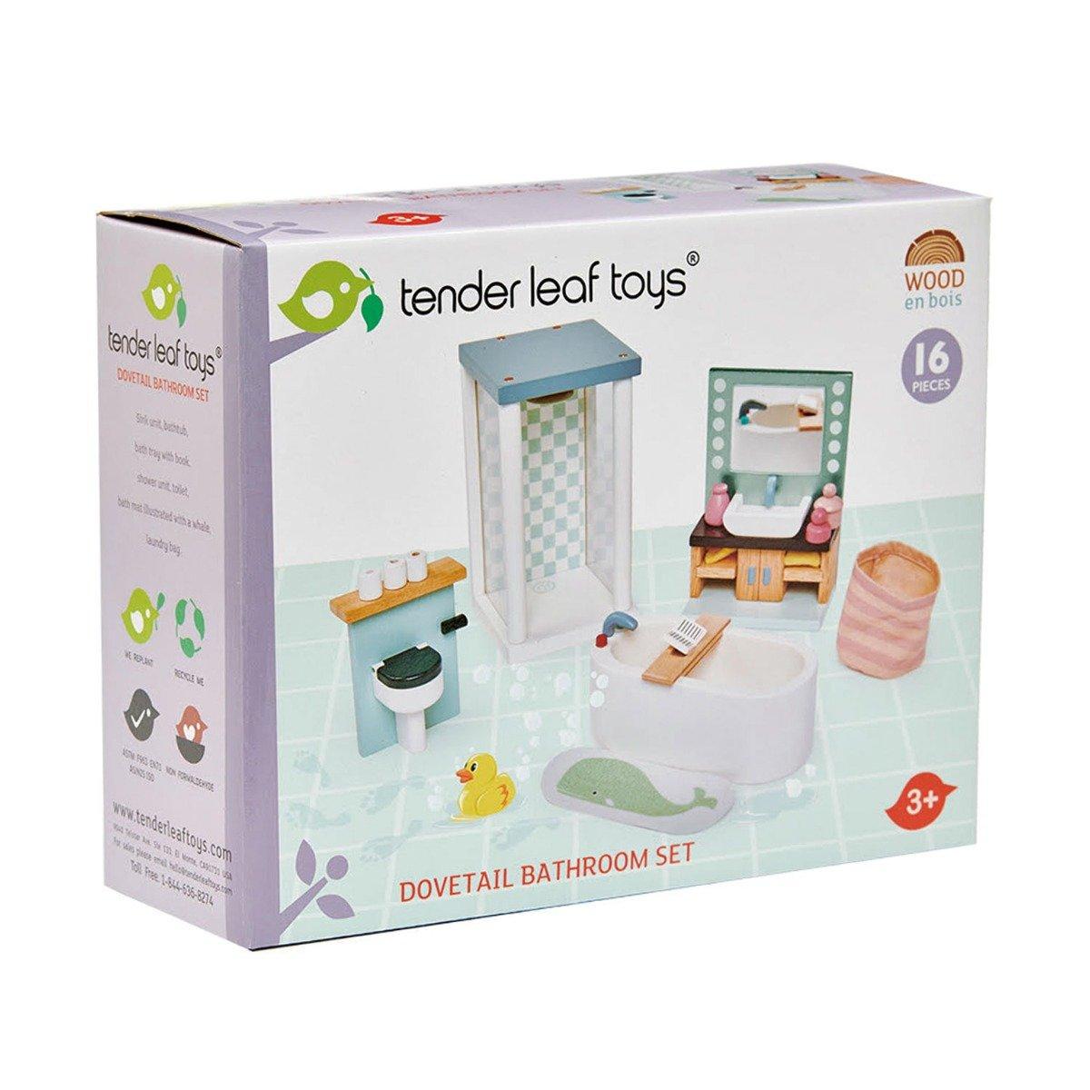 Set mobilier din lemn, baie, pentru Casuta de papusi, Tender Leaf Toys, Dovetail imagine