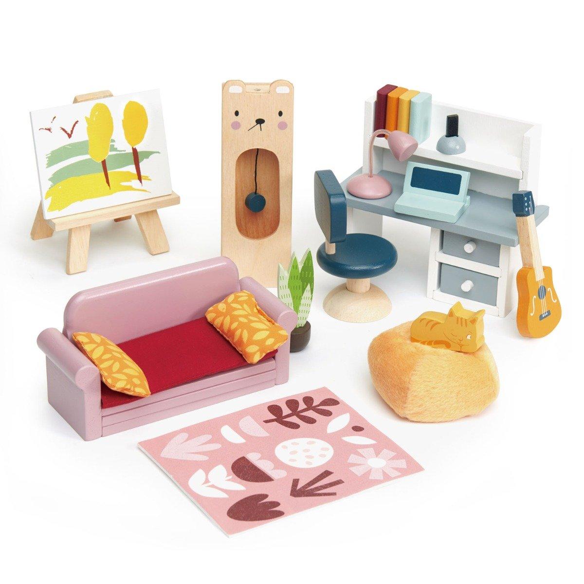 Set mobilier din lemn, birou, pentru Casuta de papusi, Tender Leaf Toys imagine