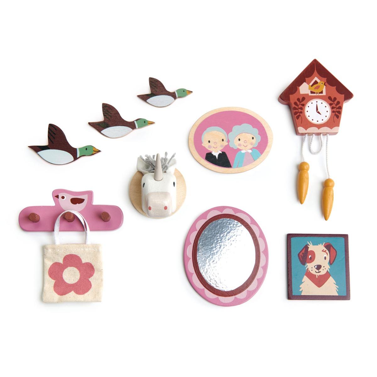 Decoratiuni pentru perete, din lemn, pentru Casute de papusa, Tender Leaf Toys, 10 piese imagine