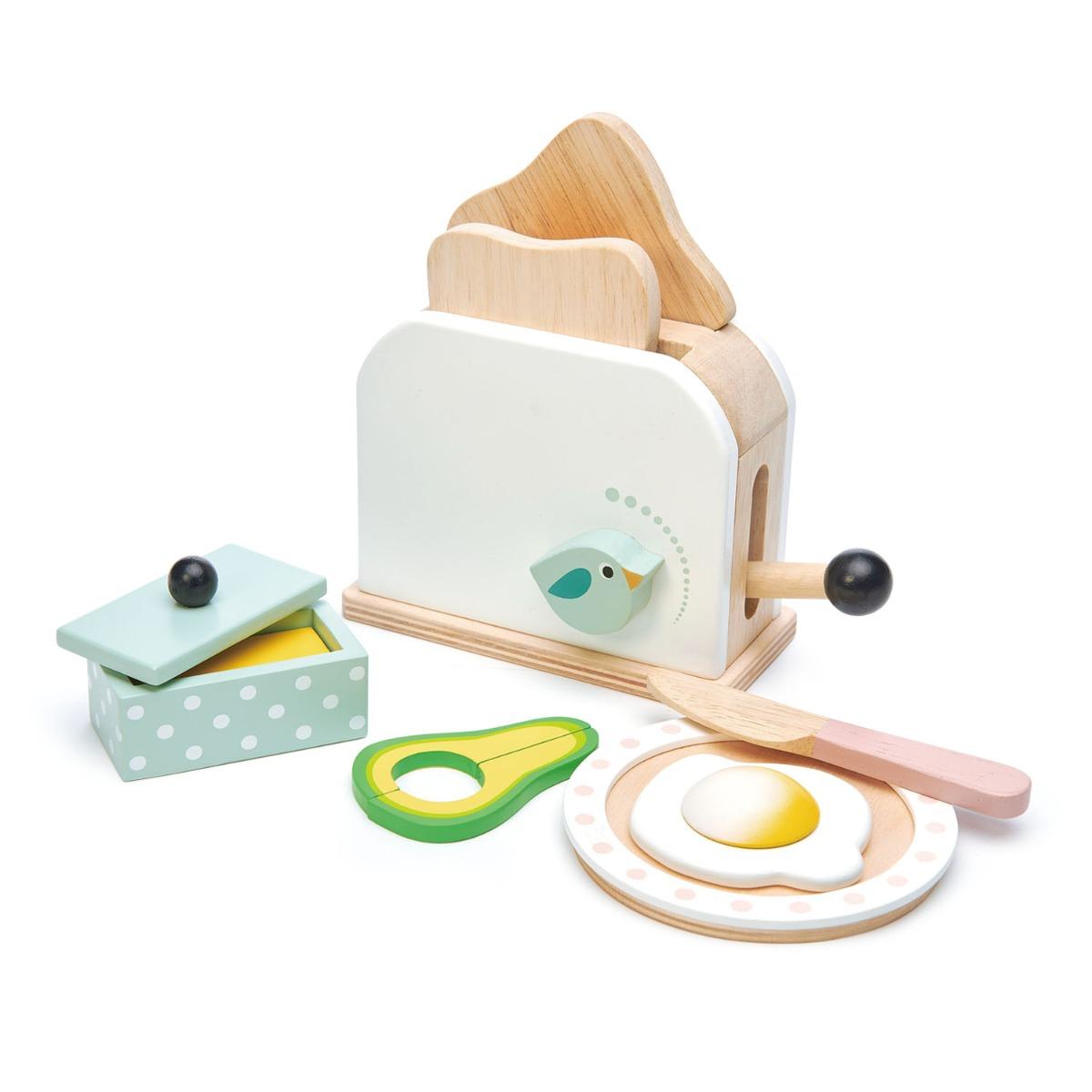 Set de joaca, Prajitor de paine din lemn, Breakfast toaster, Tender Leaf Toys, 10 piese imagine
