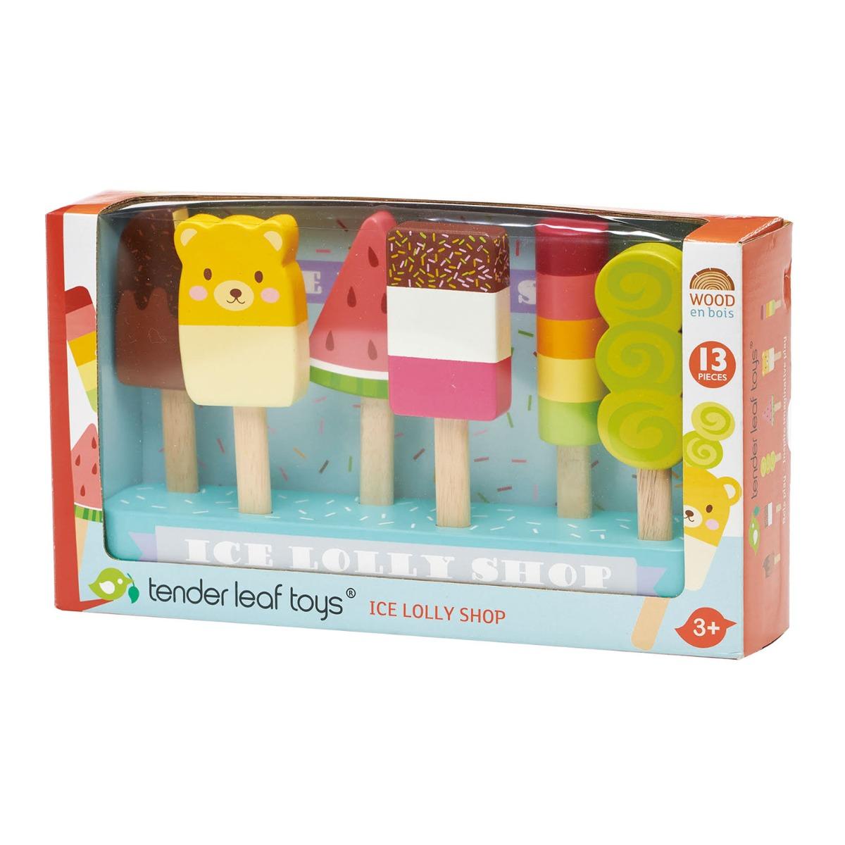 Set inghetate pe bat, din lemn, Tender Leaf Toys, Ice Lolly Shop imagine