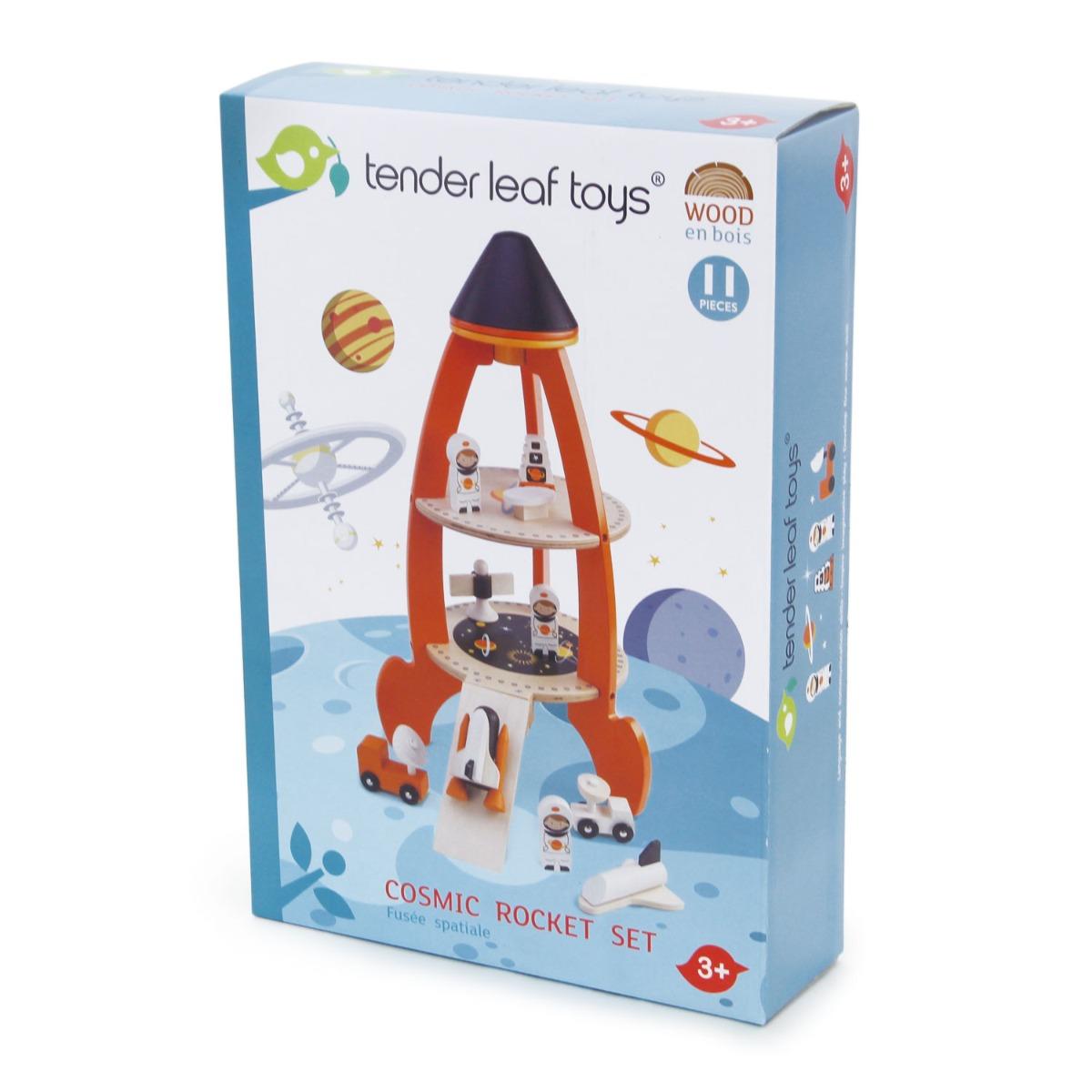 Set de joaca, Racheta cu astronauti, din lemn Tender Leaf Toys, 11 piese imagine