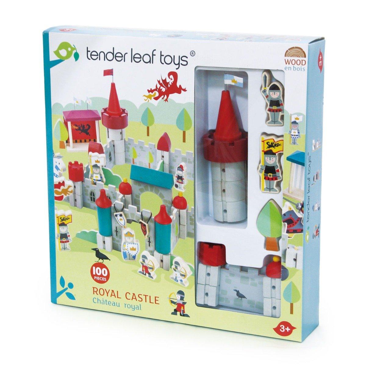 Set de joaca din lemn Castel regesc, Tender Leaf Toys, 100 piese imagine