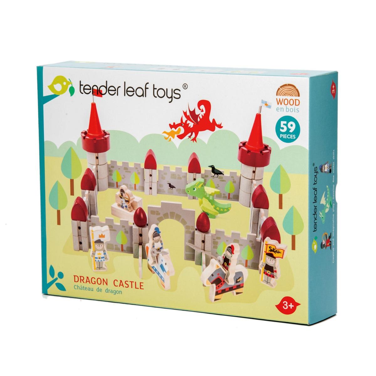 Set de joaca din lemn Castelul Dragonului, Tender Leaf Toys, 59 piese