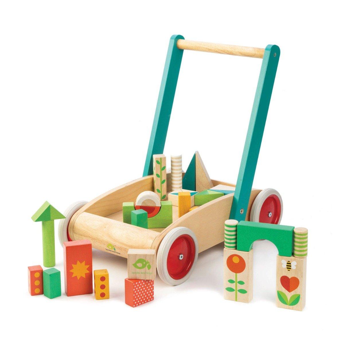 Antemergator cu cuburi, din lemn Tender Leaf Toys, 29 piese imagine