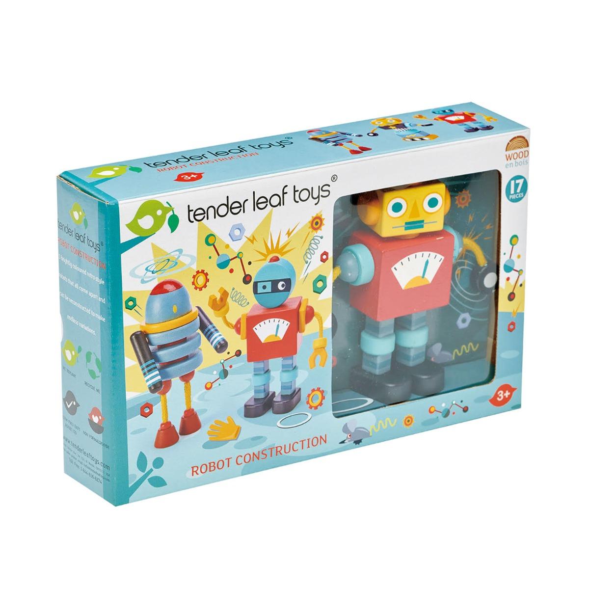 Set figurine robot din lemn Tender Leaf Toys, 17 piese imagine